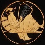 Aeolus playing harp